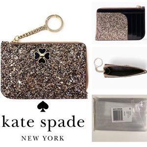 🆕KATE SPADE ♠️ROSEGOLD GLITTER CARD HOLDER WALLET